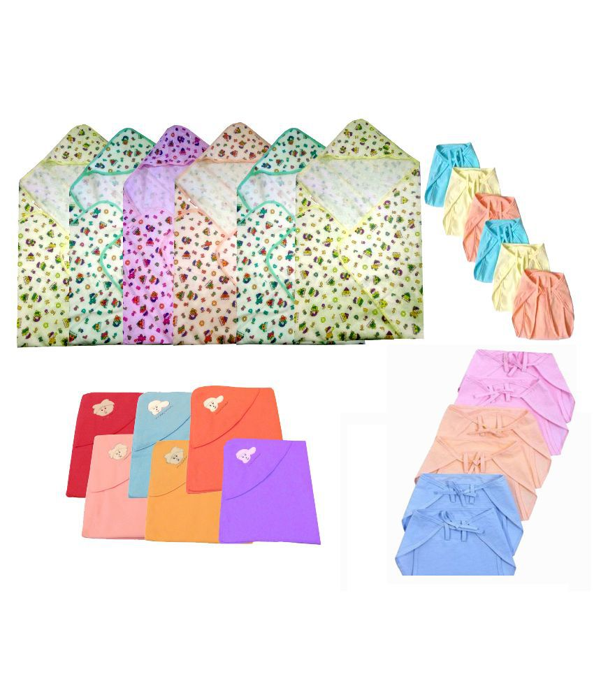 Big Bear Multicolour Six Fleece Blanket with Six Flannel Wrappers, Six Cotton Nappies, Six Hosiery Nappies