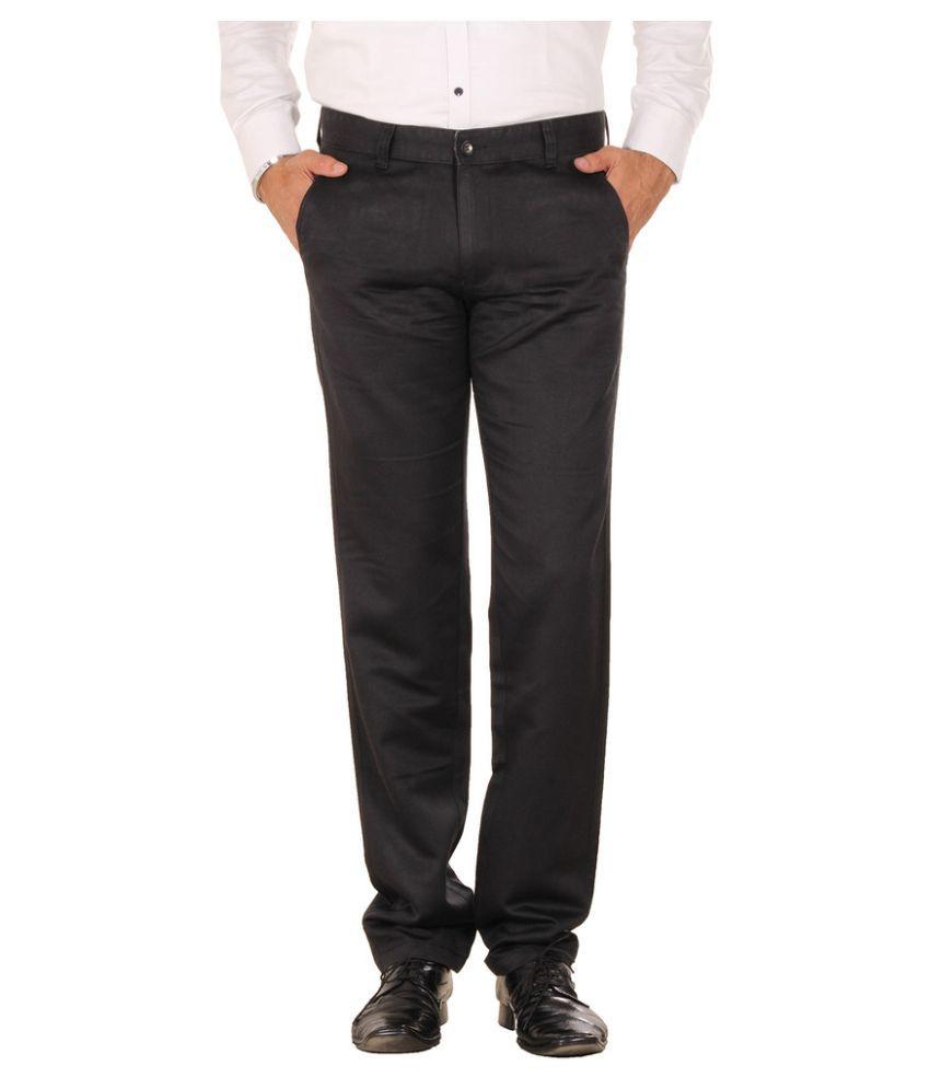 Mark-8 Black Regular Fit Flat Trousers