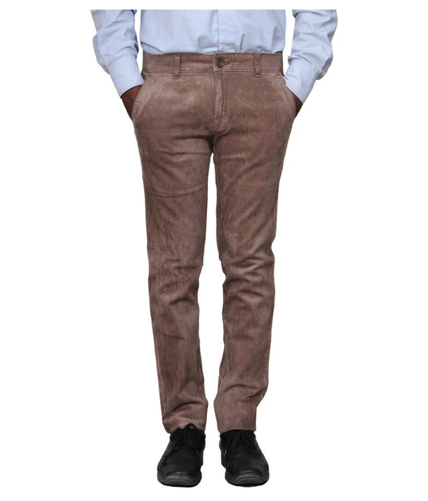 Metalica Brown Regular Fit Flat Trousers