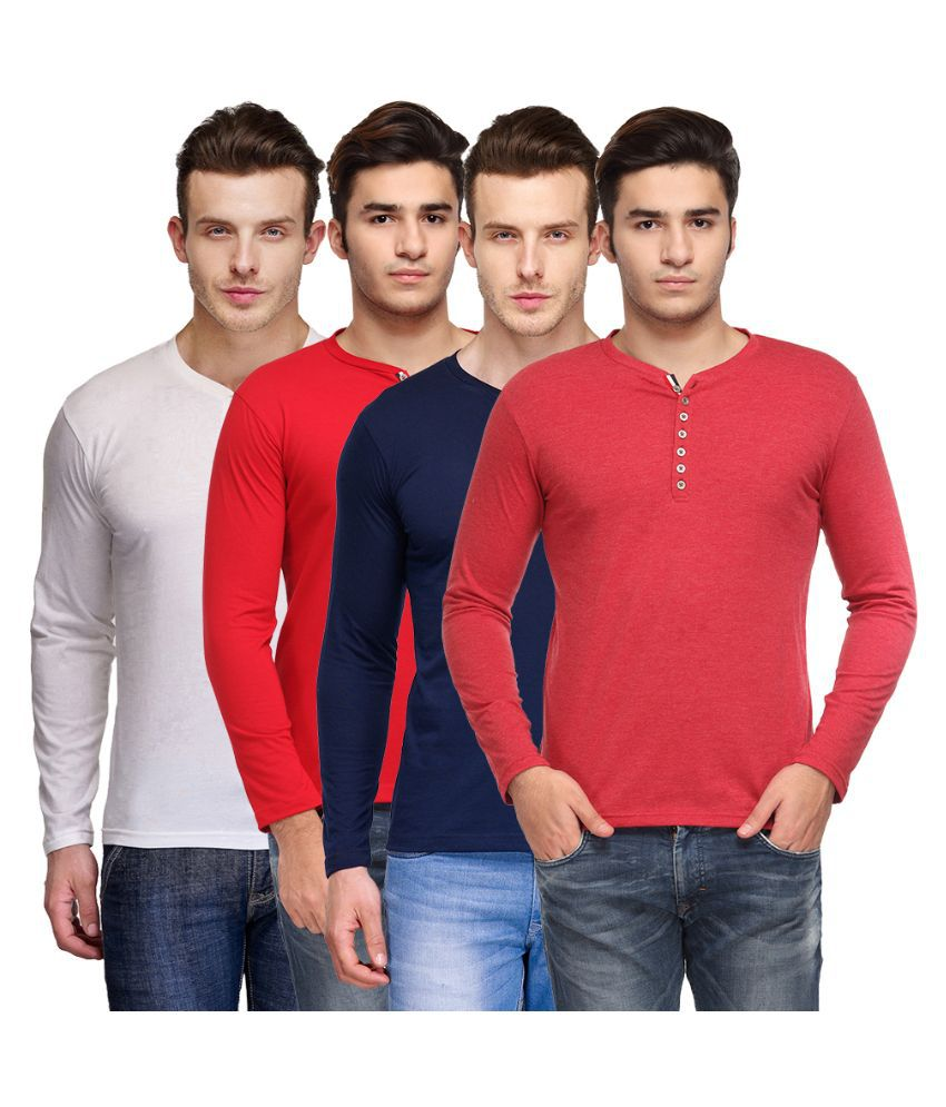 TSX Multi Henley T Shirt Pack of 4