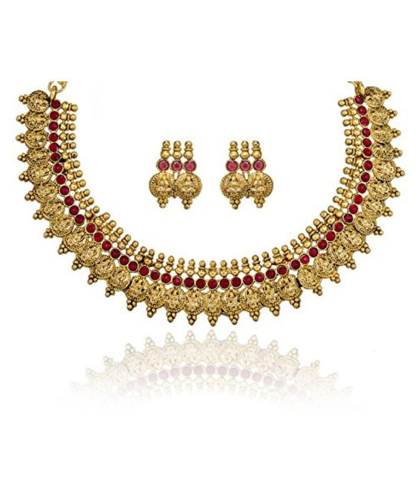Zaveri Pearls Golden Temple Necklace Set With Earring - ZPFK1015