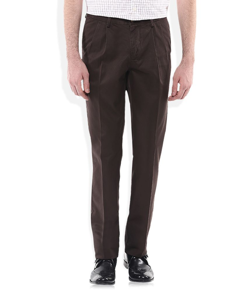 Indian Terrain Brown Regular Fit Pleated Trousers