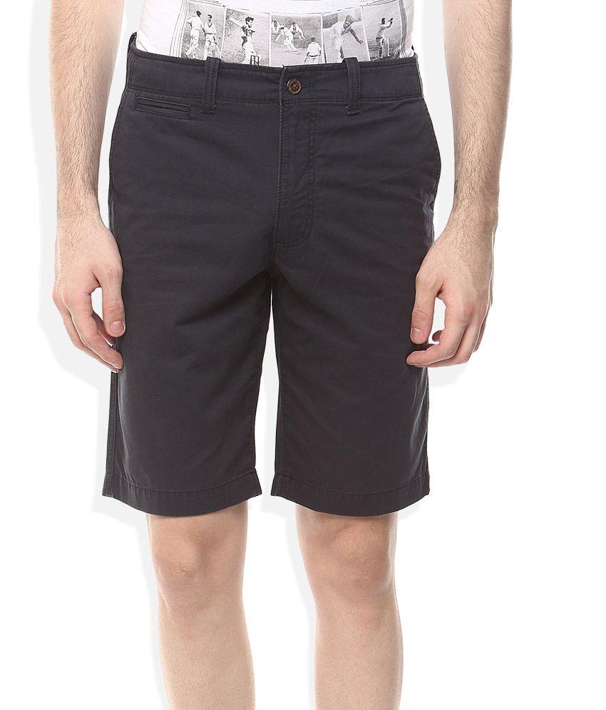 Indian Terrain Navy Solids Shorts