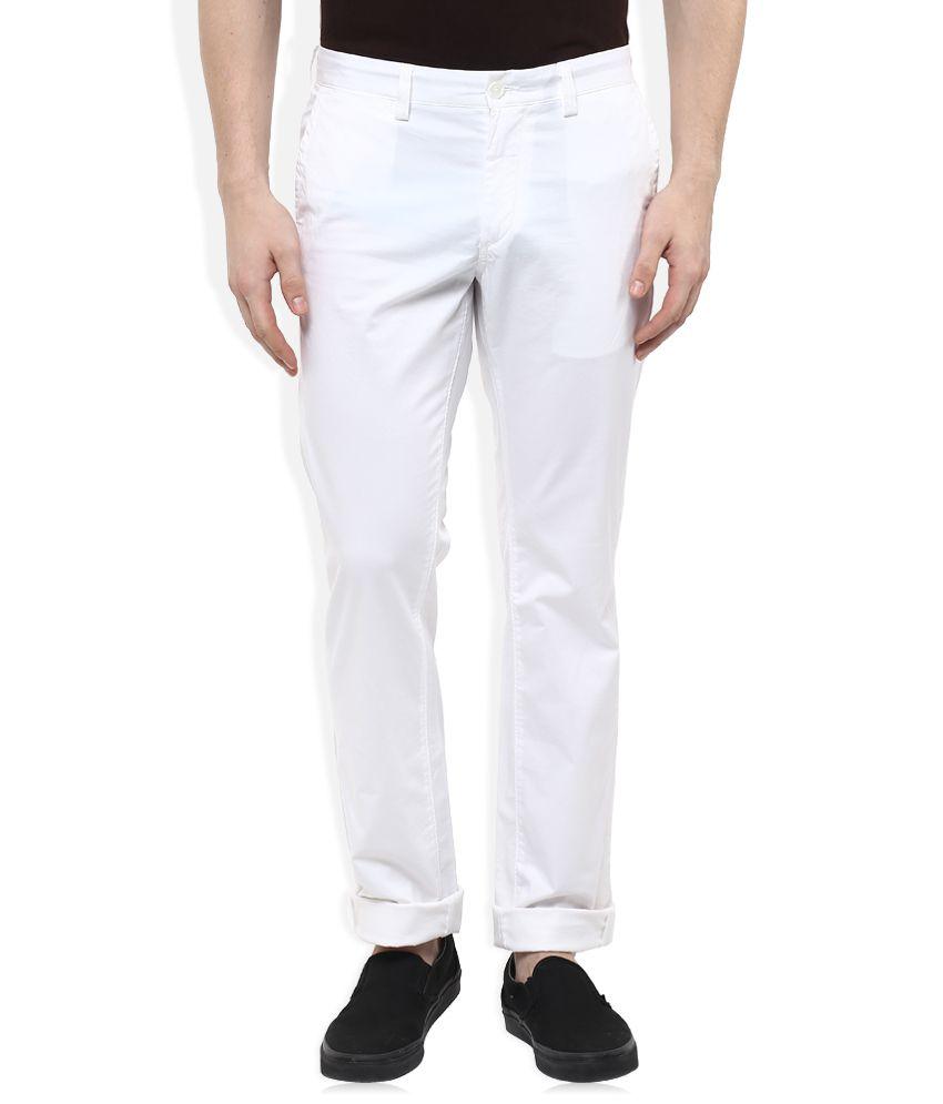 Indian Terrain White Slim Fit Chinos