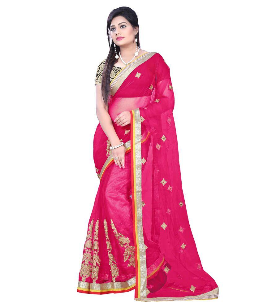 Party Wear Dresses Pink Art Silk Saree - Buy Party Wear Dresses Pink ...