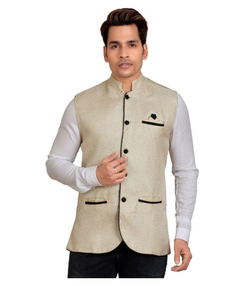 Trustedsnap Beige Cotton Blend Nehru Jacket