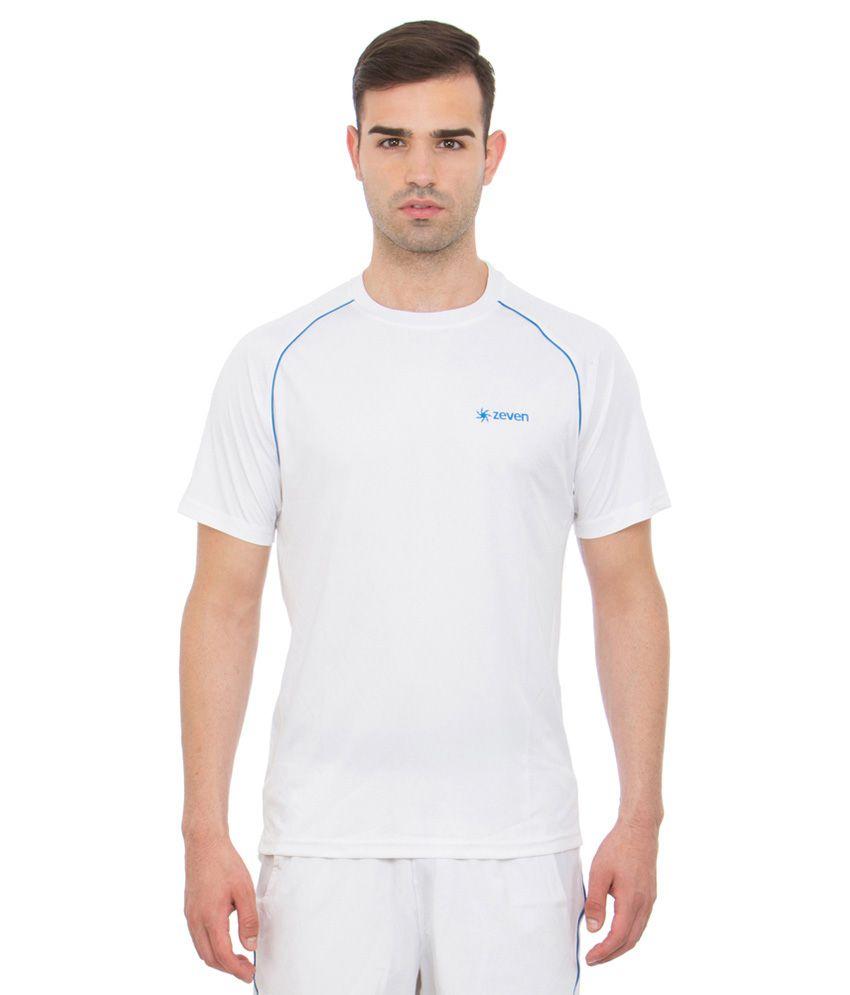 Zeven White Round Neck Tennis T Shirt