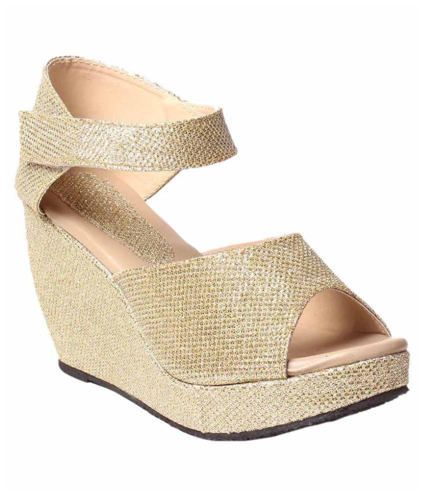 Hansx Gold Wedges Heels cheap choice Aps50