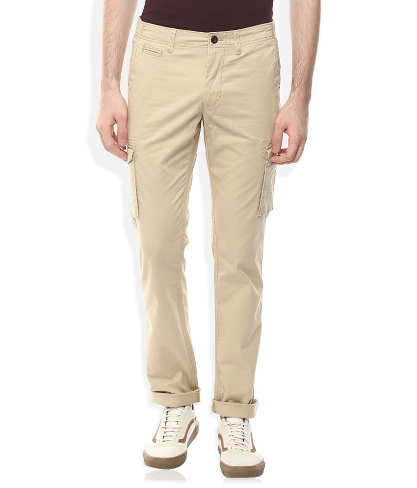 Indian Terrain Khaki Slim Fit Cargos