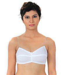 Fabme White Cotton Bra With Transaprent Straps