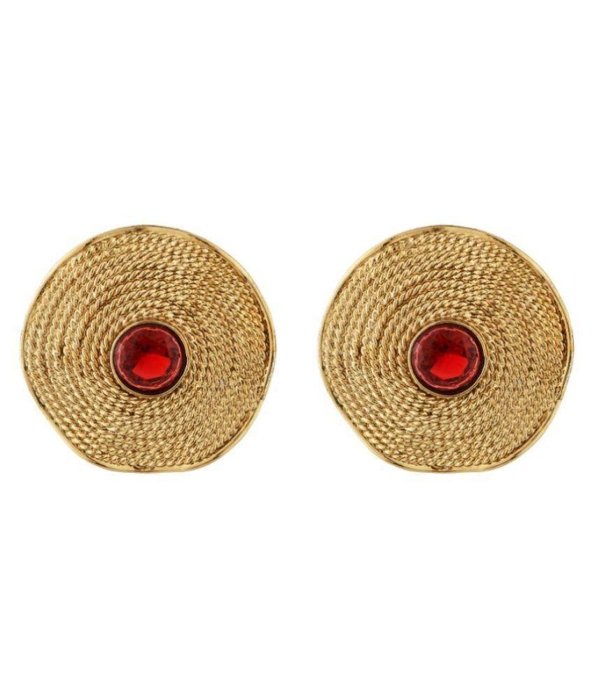 Art Nouveau Golden Brass Stud Earrings