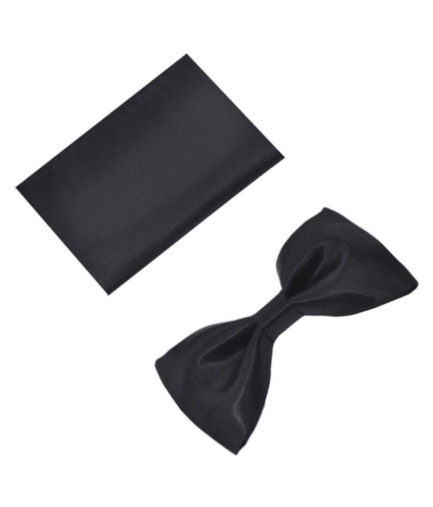 Blackmail Tie Black Bow Tie with Pocket Square For Men