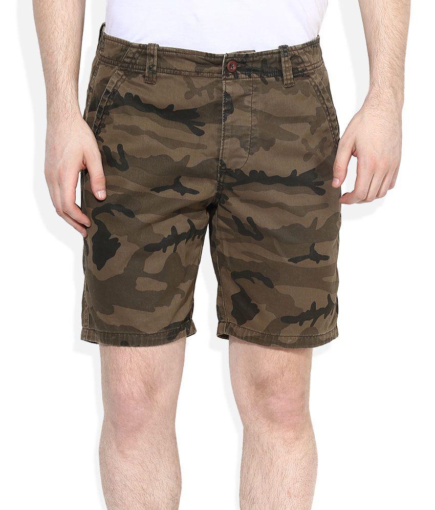 Breakbounce Brown Printed Shorts