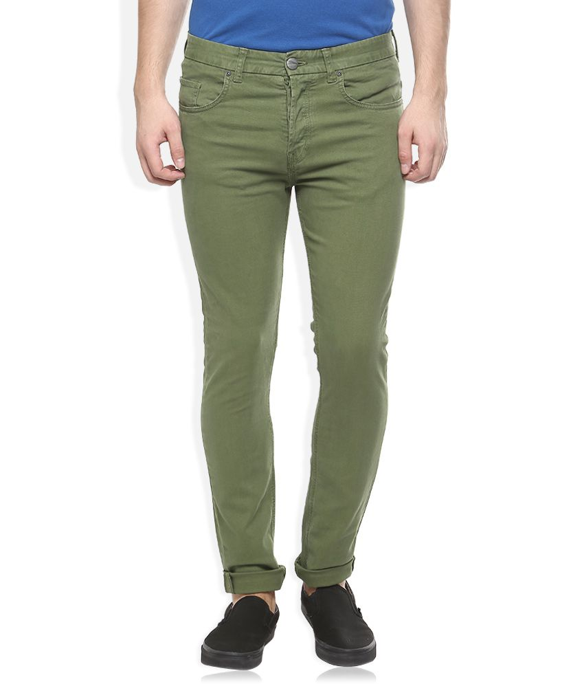 Breakbounce Green Slim Fit Casuals Chinos