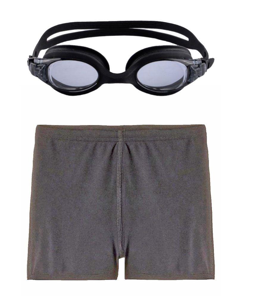 Bubbles&Balloons Combo of Black Nylon Swimwear & Goggles for Boys/ Swimming Costume