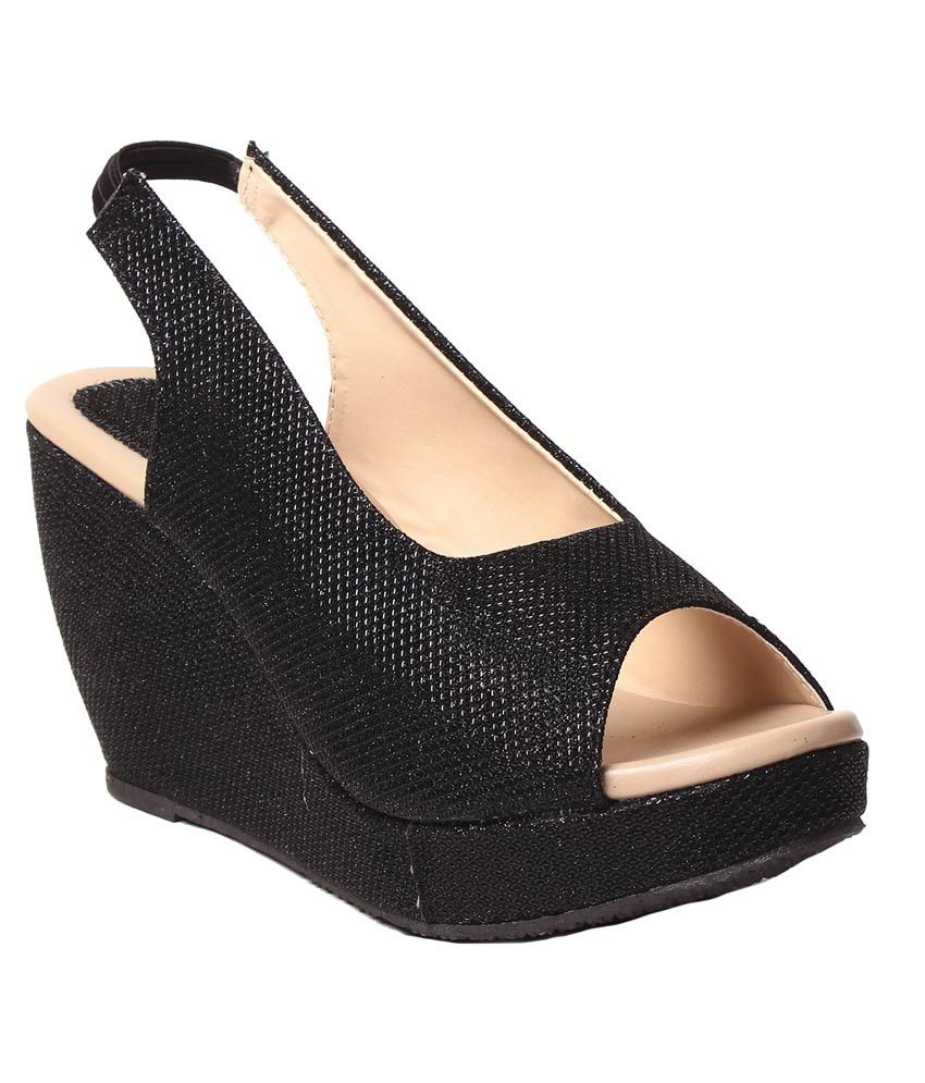 Hansx Black Wedges Heels
