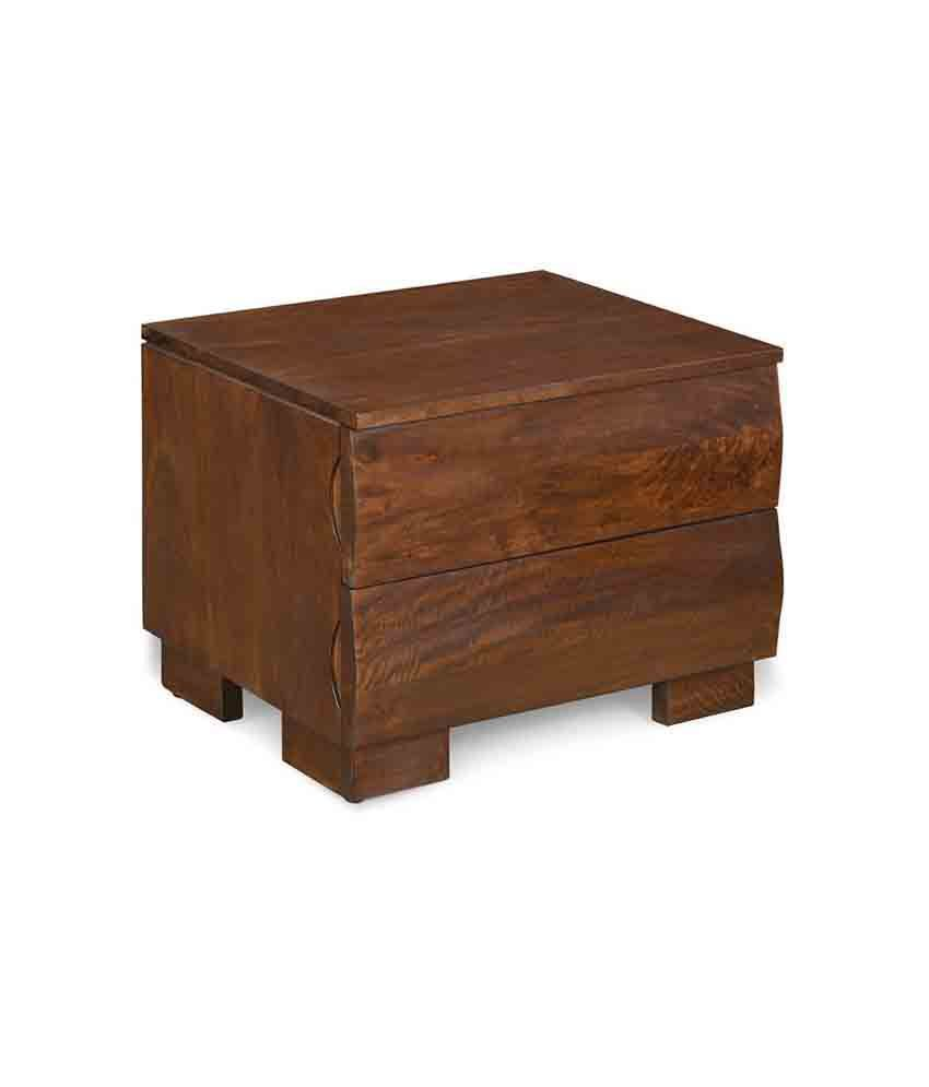 @home by Nilkamal Waves Solid Wood Night Stand