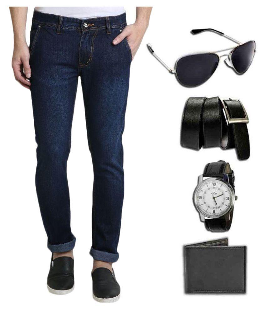 Denim Cafe Blue Slim Fit Solid Jeans with Watch, Sunglasses, Wallet & Belt