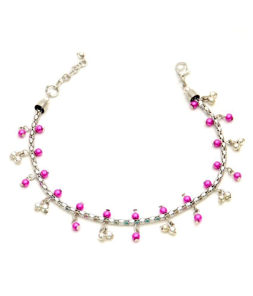 ZURII Alloy Studded Pink Coloured Single Anklet
