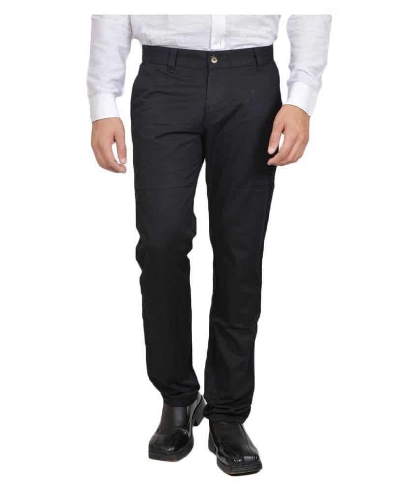 Allen Martin Black Regular Fit Flat Trousers