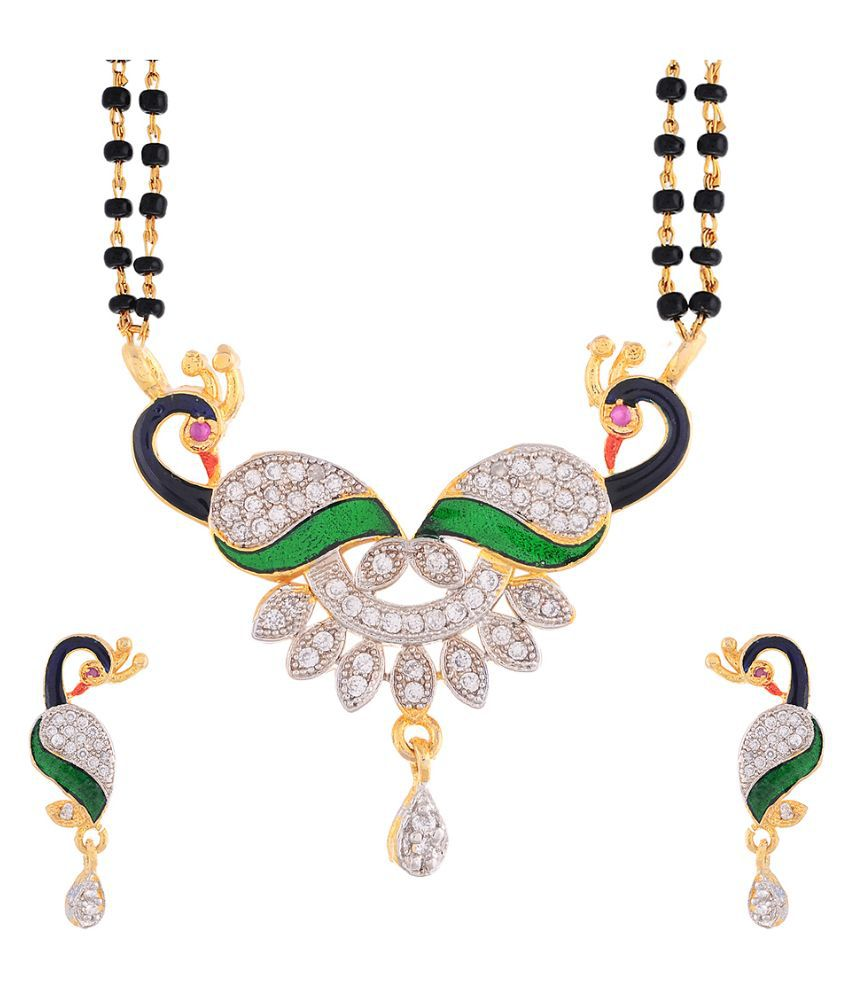 Sitashi Copper Studded Multi Coloured Mangalsutra Set