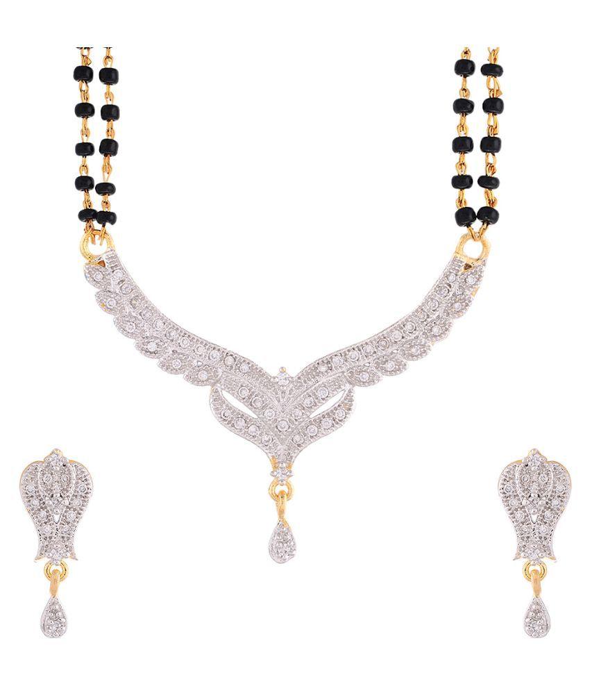 Sitashi Copper Studded Silver Coloured Mangalsutra Set
