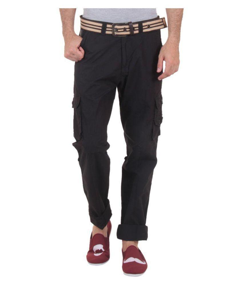 Sports 52 Wear Black Regular Fit Cargos
