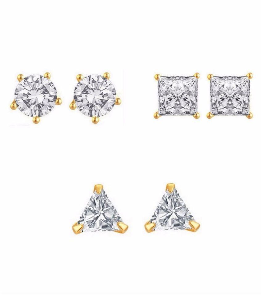 Archi Collection Alloy 24 kt Gold Plating Cubiz Zirconia Studded White Coloured Earrings Combo