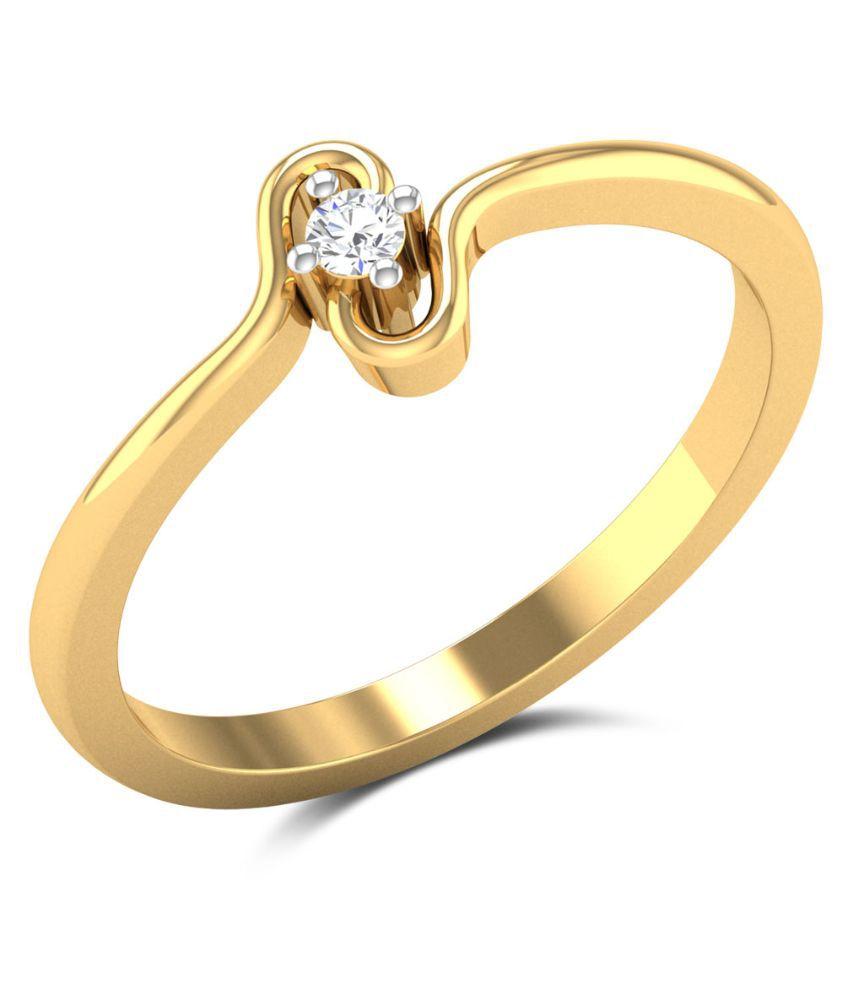 Zaamor Diamonds 18kt Yellow Gold Diamond Studded Gold Ring