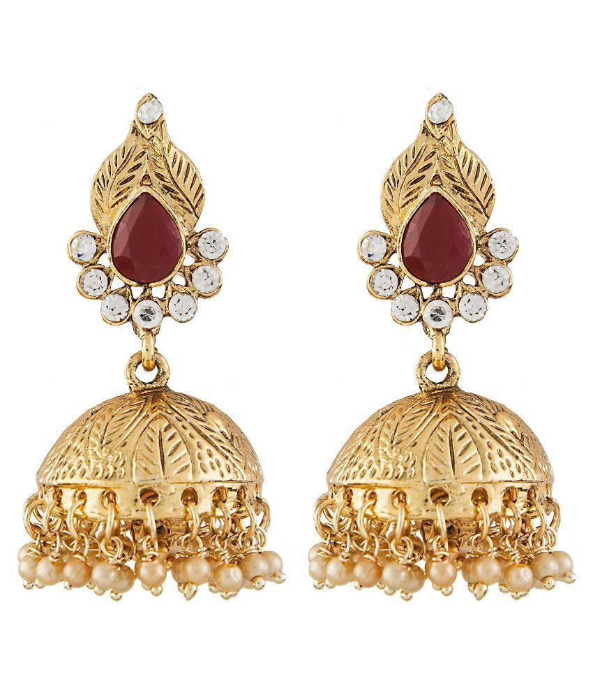 Aashvi Creation Alloy Gold Plating American diamonds Studded Gold Coloured Earrings