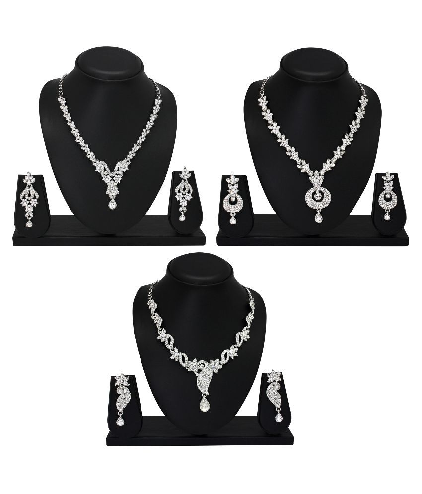 Atasi International Alloy Stones Studded Multi Coloured Necklace set Combo