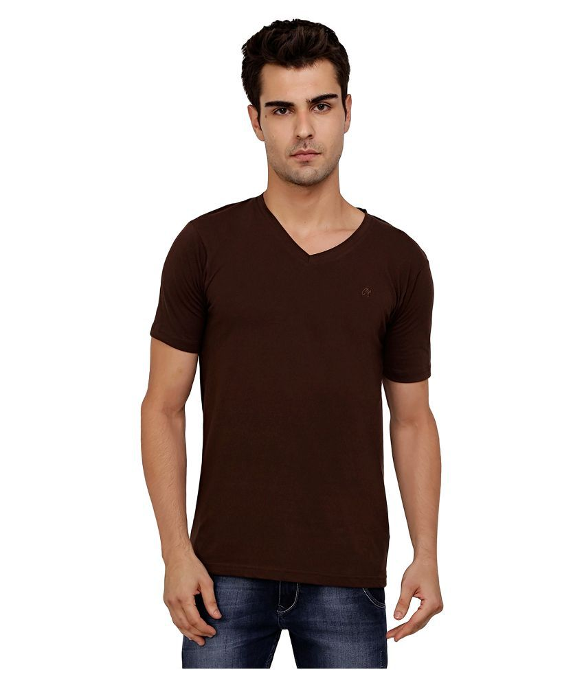 Aliep Brown V-Neck T Shirt