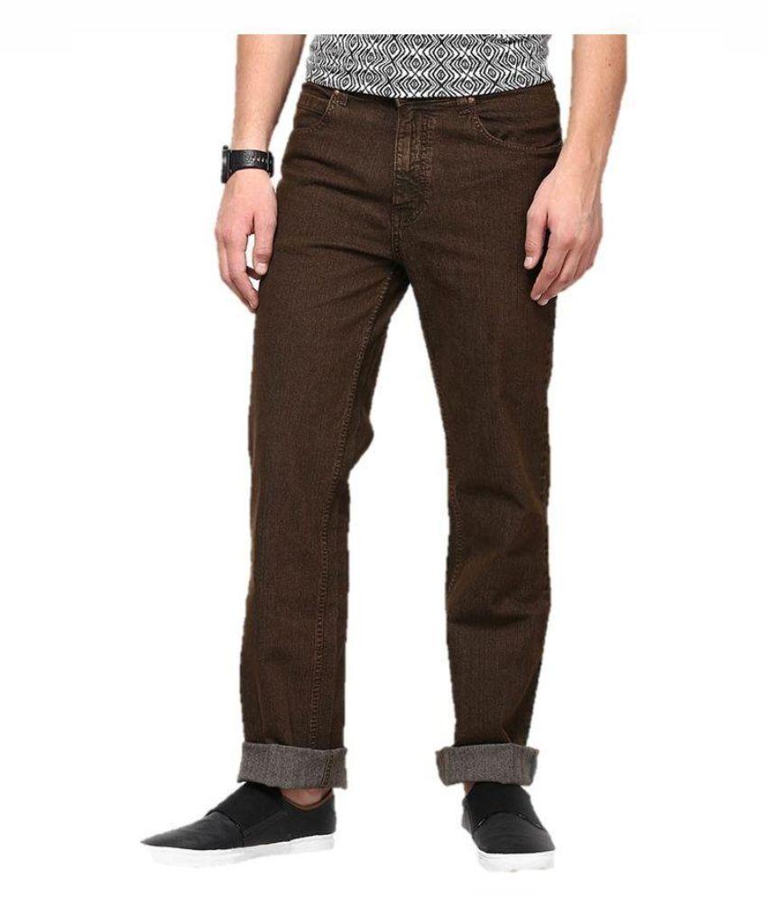 Blackwolf Brown Skinny Fit Solid Jeans