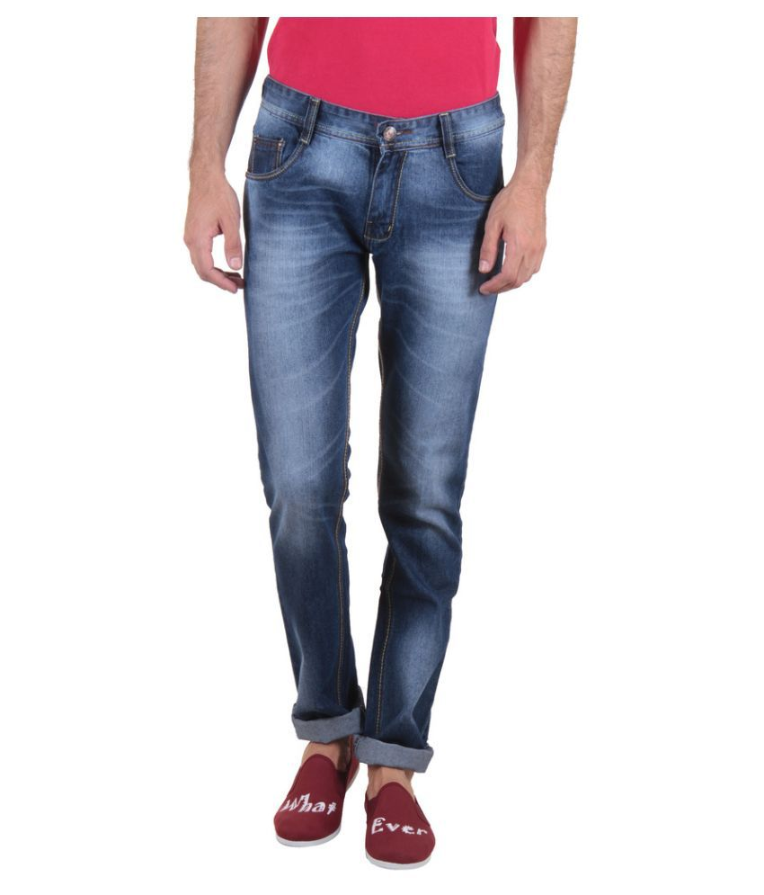 Routeen Blue Slim Fit Washed Jeans
