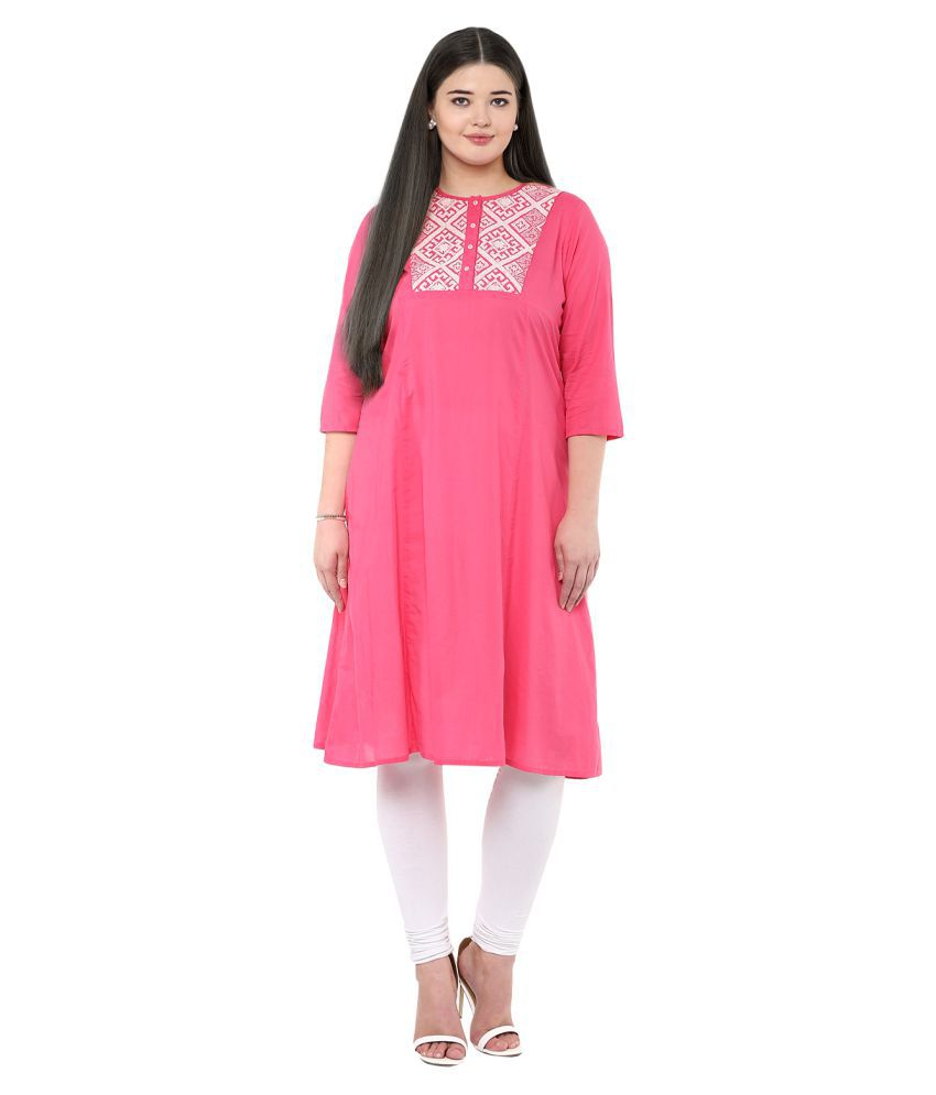 Love More Pink Cotton Anarkali Kurti