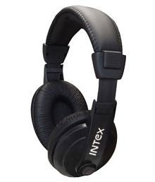 Intex Over Ear Wired Headphones With Mic Black