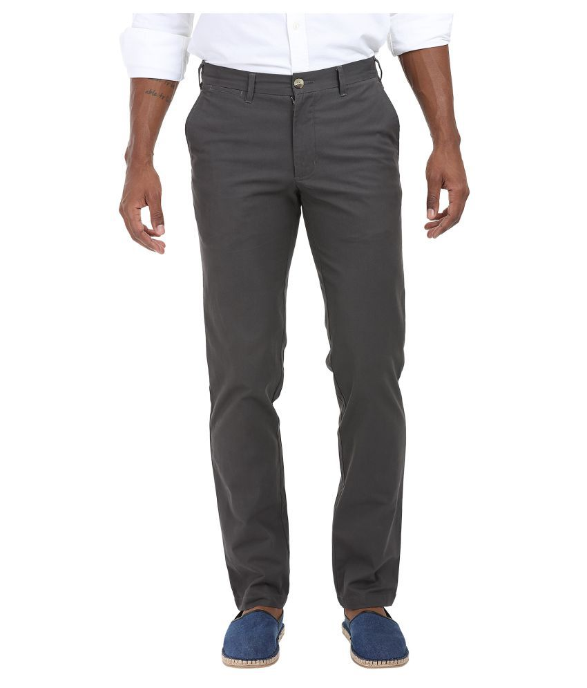 Zobello Grey Slim Flat Trouser