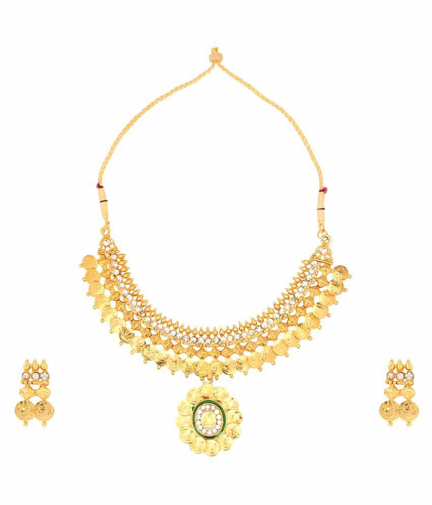 26c19de3d Dancing Girl Jewelry Set Temple Gold Coin Necklace Set - Buy Dancing Girl  Jewelry Set Temple Gold Coin Necklace Set Online at Best Prices in India on  ...