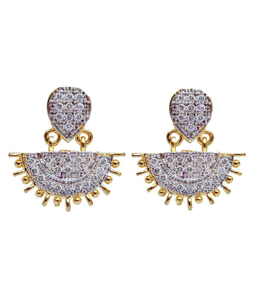 Lucky Jewellery White American Diamond Chandeliers Earring
