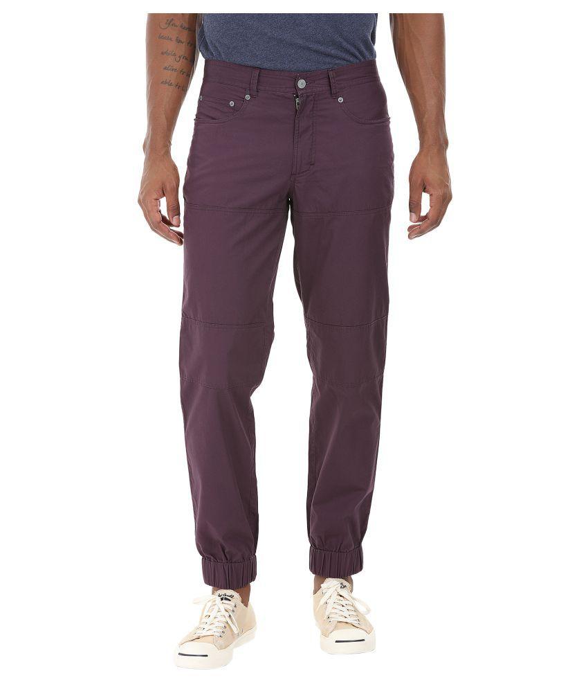 Zobello Purple Regular Flat Trouser