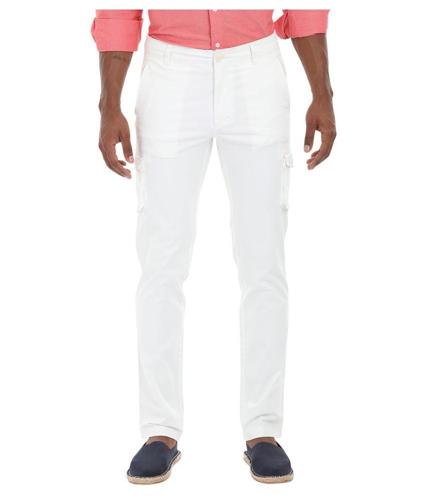 Zobello White Regular Flat Trouser