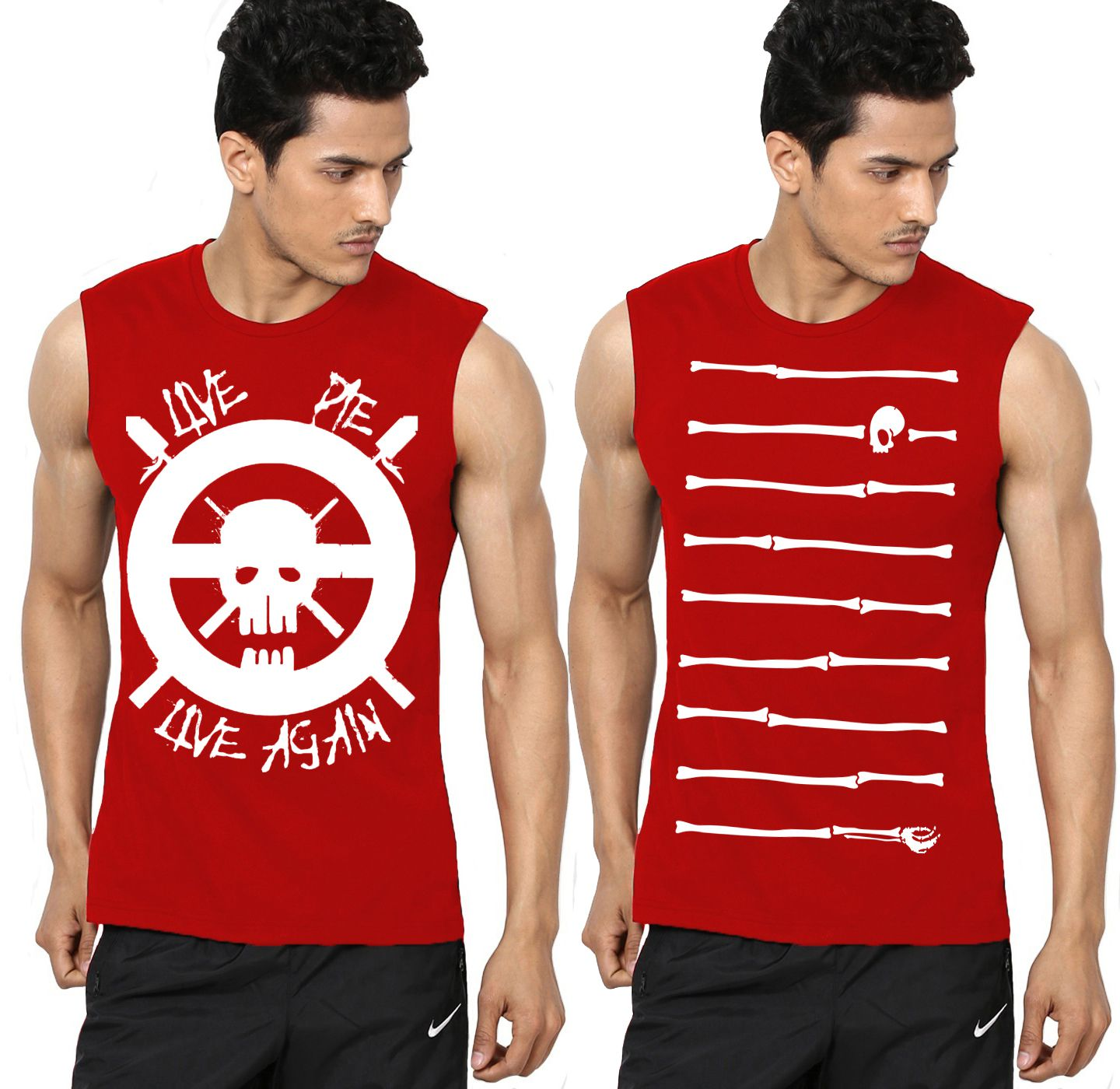 Ax7 Red Polyester T-Shirt Pack of 2