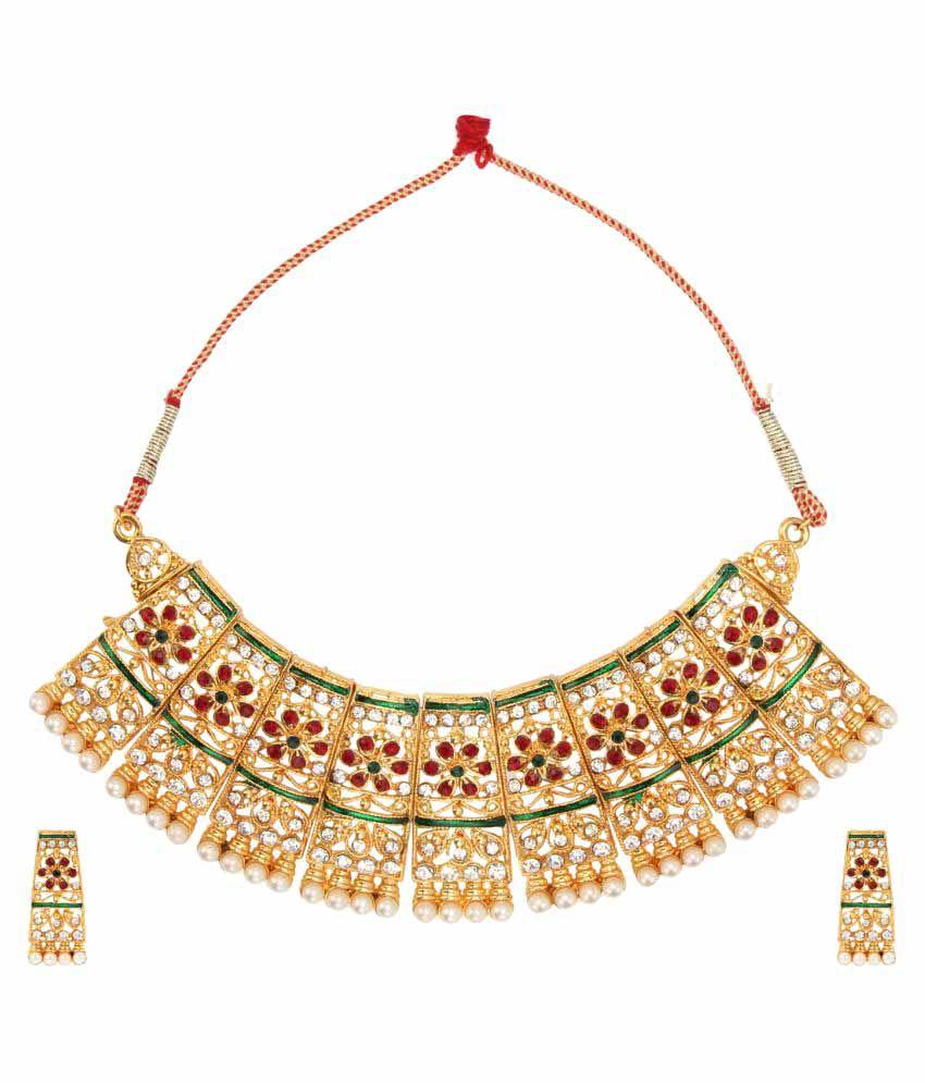 Dancing Girl Ethnic Indian Traditional Fashion Jewelry Set Golden Designer Necklace Set