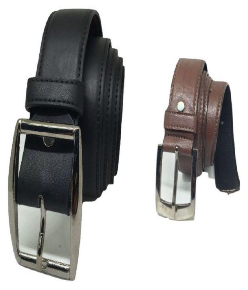 Homeneedz Multi Leather Formal Belts - Pack of 2