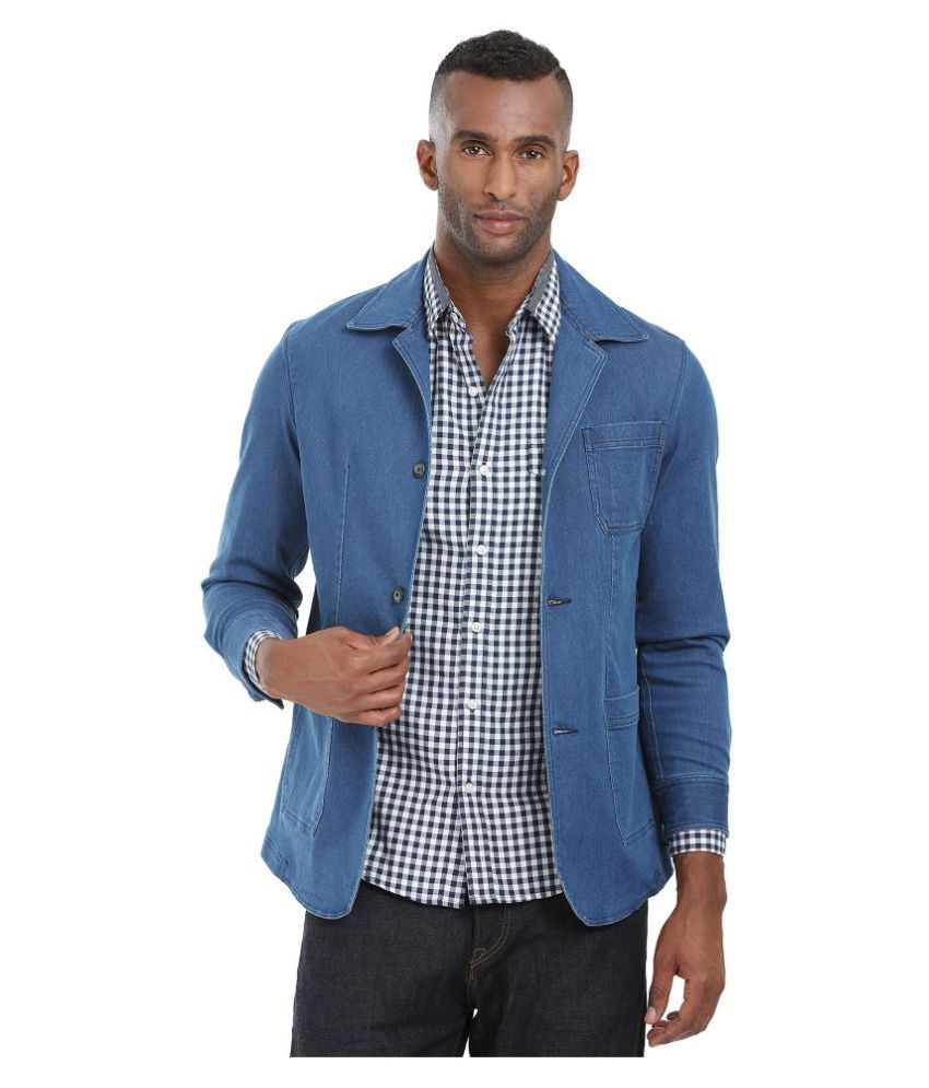 Zobello Blue Solid Casual Blazers