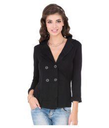 Cay Black Cotton Blend Blazers