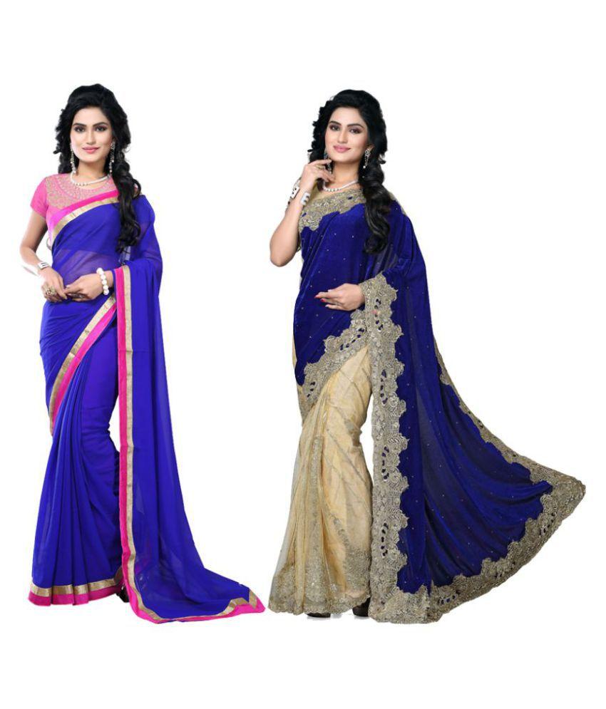 TheMorris Multicoloured Velvet Saree Combos