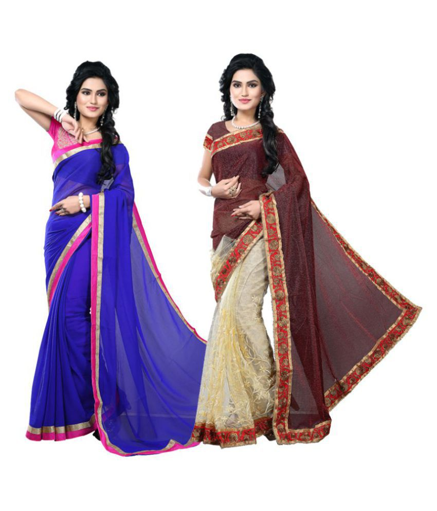 TheMorris Multicoloured Lycra Saree Combos