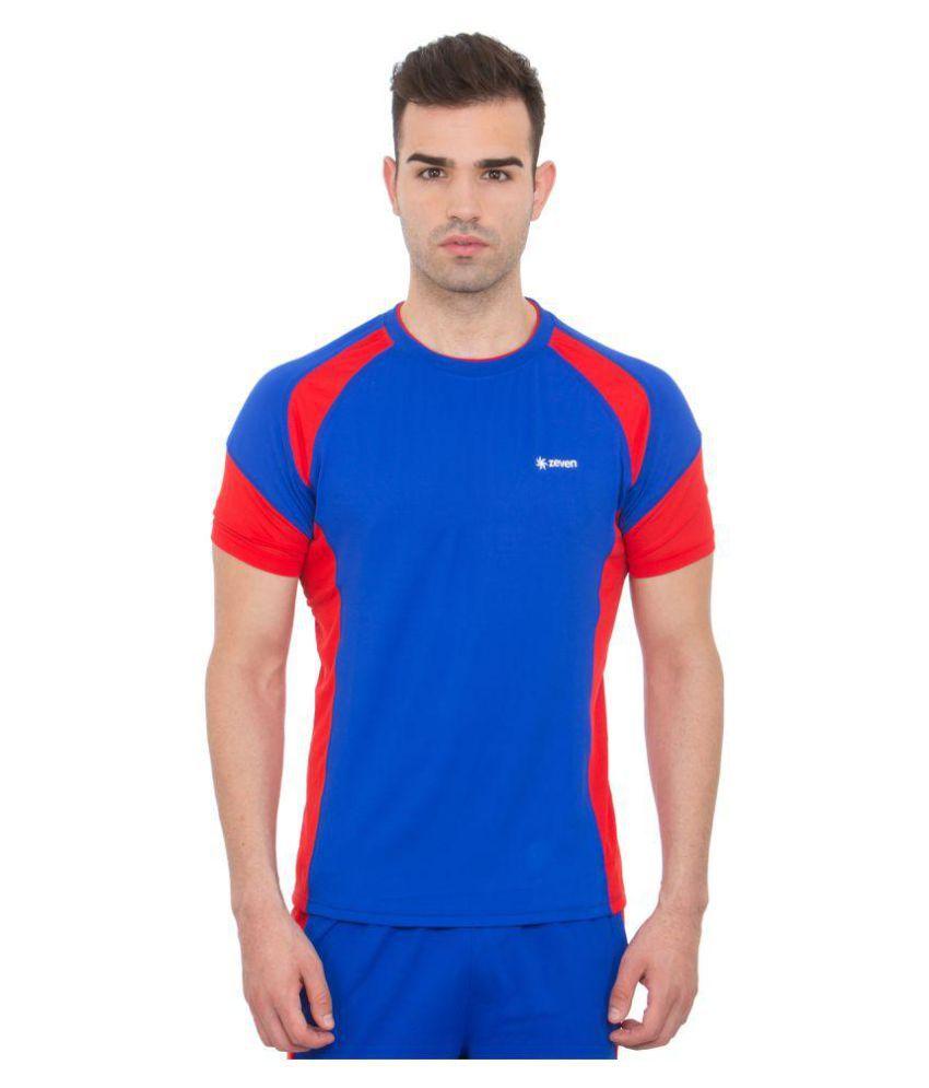 Zeven Blue Polyester T-Shirt Single Pack