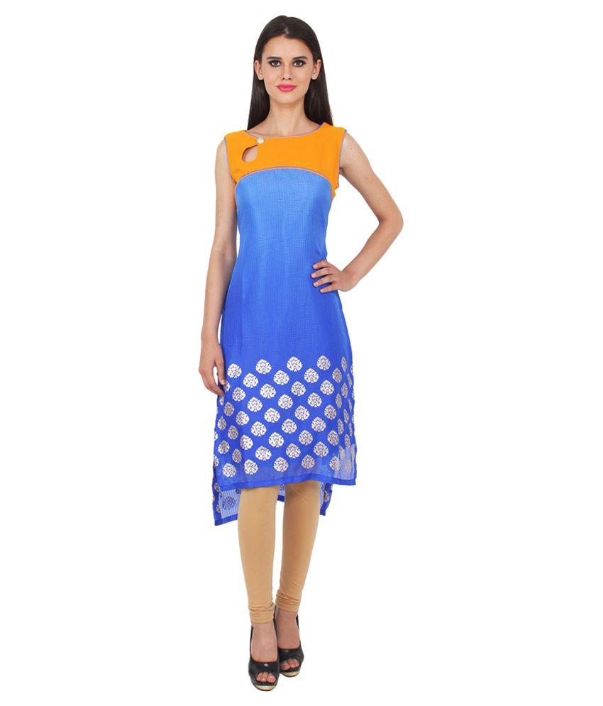 Kiaraa Multicoloured Georgette High Low Hemline Kurti